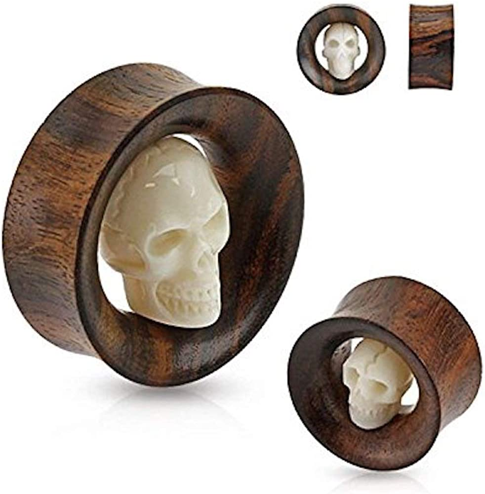 Covet Jewelry Carved Skull Inside Organic Sono Wood Saddle Fit Tunnel