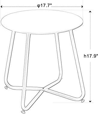 Grand Patio Steel Patio Side Table, Weather Resistant Outdoor Round End Table, Black