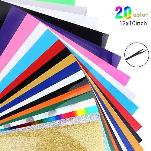 Lámina de transferencia térmica de vinilo, textil para camisetas, letras, pegatinas, carteles (20 colores)