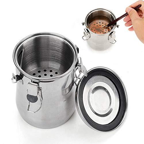 Lavadora de cepillos de acero inoxidable a prueba de fugas con tapa y pantalla de filtro, recipiente doble recipiente para aceitera y pintura al agua Tamaño libre plata