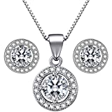 Lydreewam 925 Sterling Silver Women Necklace Earrings Jewellery Set with 3A 6mm Round Cubic Zirconia Gift Box for Mother's Day
