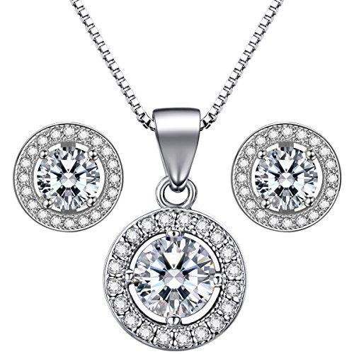 Lydreewam 925 Pendientes de plata de ley, Conjunto Aretes 18'Collar pendiente con 3A 6mm Cubic Zirconia Regalo para la fiesta de bodas