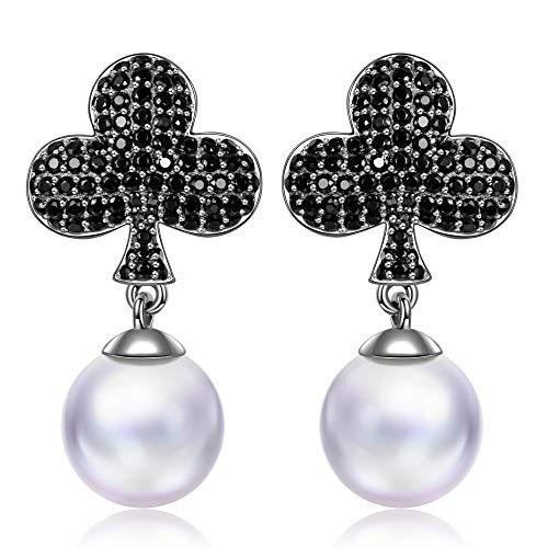 MYMISS San Valentín Regalos pendientes mujer plata zirconia perlas negra joyas pendientes regalos san valentin mujer boda niñas novia regalo para mujer madre e hija profesora