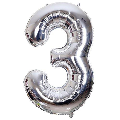 Smarcy Palloncino Gonfiabile Numero 3 Palloncini Compleanno 3 Anni Decorazioni Compleanno Bimbo Argento