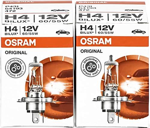 2 x OSRAM 64193 H4 60/55W BILUX LÁMPARA HALÓGENA LÁMPARA DE AUTO BOMBILLA FILTRO UV FABRICANTE DE EQUIPO ORIGINAL NUEVO & PAQUETE ORIGINAL
