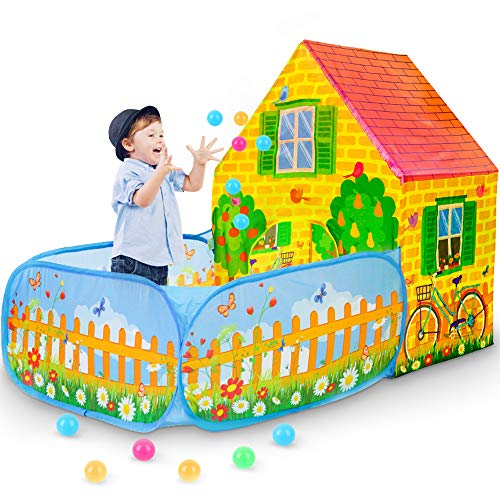 SkyNature Kids Play Tent,Pop Up Playhouse with Ball Pit, Indoor/Outdoor Discovery Game Tents for Girls,Boys,Children,Babies and Toddlers - Pretend Play Garden House