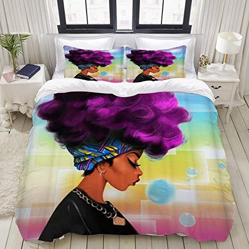 MUYIXUAN Bettwäsche 135x200cm Afrikanisches Mädchen Schwarze Frauen Fluffy Hair Pebble,3 teilig microfaser Bettwäsche Bettbezüge mit Reißverschluss und 2 mal 50x80cm Kissenbezug