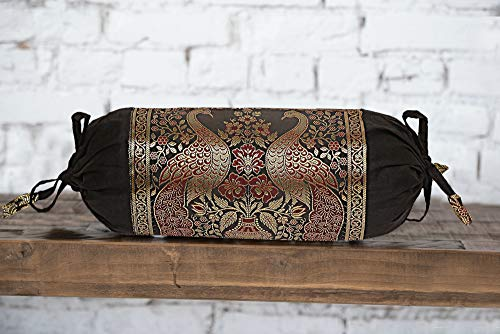 Real Online Seller Indian Polydupion Cylindrical Tube Pillow Bolster Pillow Covers Black Jacquard Brocade Border Peacock Large Couch Round Cylinder Cushion Covers (Set of 2)