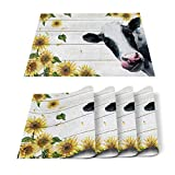 SUN-Shine Farm Milk Cow with Sunflower Placemats 6 PCS Washable Placemat for Dining Table Decorations, Heat-Resistant Table Mats for Kitchen Dinner Banquet Decor Rustic Wood