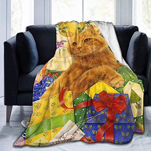 Divertido regalo de Navidad con diseño de gato naranja para el hogar, manta de microfibra de forro polar, ligera y acogedora, cama súper suave y cálida de felpa de 60 x 50 pies
