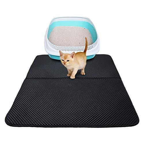 NLNL Alfombra de Arena para Gatos de Doble Capa Alfombrillas para atrapar a Las Mascotas Alfombrilla para la Caja de Arena Producto para Mascotas Cama para Gatos Casa Limpia Alfombra (55x70cm,Negro)