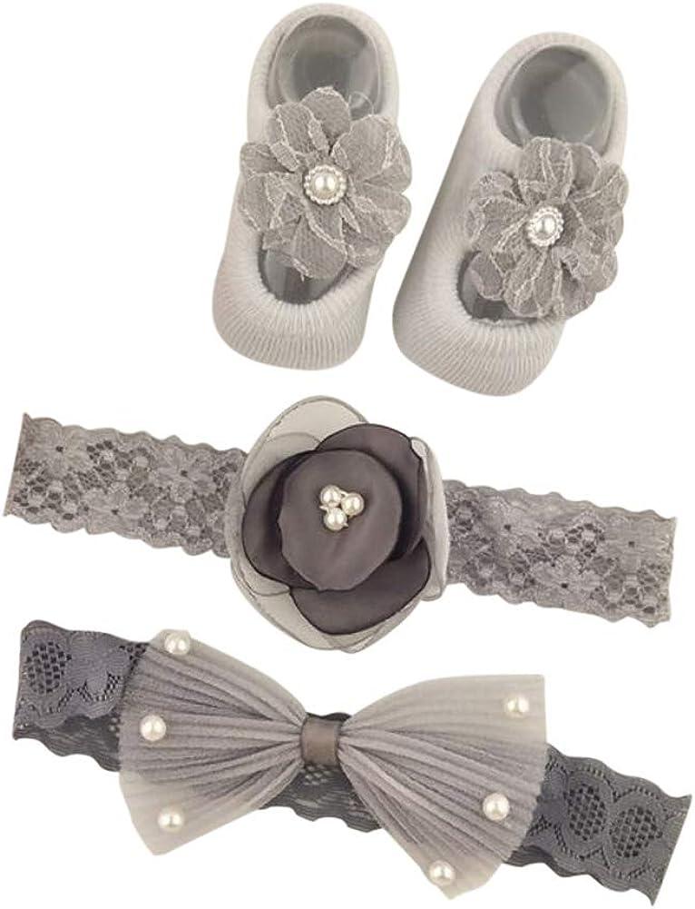 Newborn Baby Girl Box Gift Set - Socks & Headbands Baby Pink (Grey)