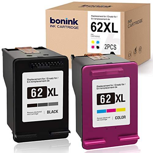 BONINK 2 Kompatibel HP 62XL 62 XL Druckerpatronen für HP OfficeJet 250 200 5740 5742 Envy 7640 5640 5540 5548 5646 Drucker (Schwarz/Farbe)
