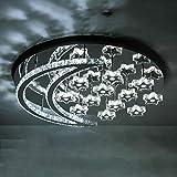 LED de luz empotrado en el techo LED Silver Crystal Stars Moon Lámpara de techo 3 colores Blanco Luz natural cálida Lámpara de acero inoxidable Villa Hotel Comedor Sala de estar Dormitorio luz de tech
