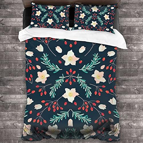 Juego de edredón tamaño Queen All Season Set 3 piezas ropa de cama Hellebore romero rosa caderas invierno floral bosque verde