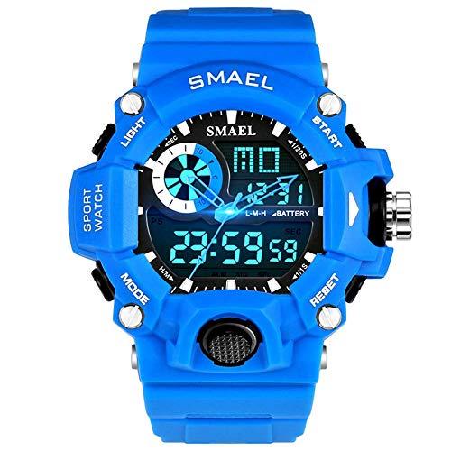 AYDQC Reloj de los Deportes de los Hombres Relojes de Pulsera electrónica de LED Reloj Deportivo Digital Corrientes de los Hombres Deportes al Aire Libre del Reloj fengong (Color : Blue)