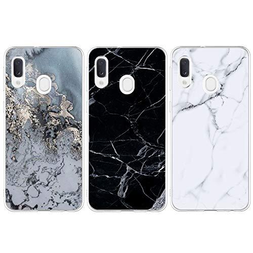 ToneSun für Samsung Galaxy A20e Hülle Marmor, TPU Weich Marble Handyhülle Handytasche: Transparent Silikon Case TPU Bumper Schutzhülle Etui Case Backcover [3 Stück] - Marmor