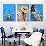 Cuadros Decoracion Salon Modernos 60x80cm x3Pieces Frameless Blue Swimming Pool Fashion Beauty Canvas Poster Print Picture Wall Art Paintings Living Room Decor