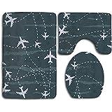 Aubrdon Viajar Alrededor del mundoAlfombras de baño de rutas de avión, 3 Piezas/Juego de alfombras