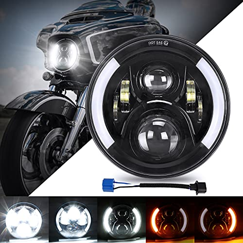 SUPAREE 7 inches LED Motorcycle Headlight for Touring Road King Ultra Classic Electra Street Glide Tri Cvo Heritage Softail Slim Deluxe Fatboy Chrome
