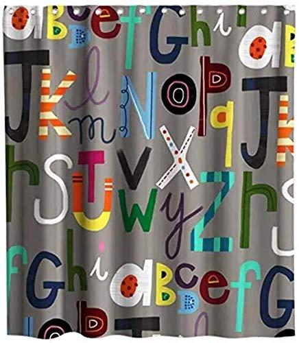 Bunte alphabetische Schrift Design ABC Theme Stoff Schwarz-Weiß-Duschvorhang 180X180Cm