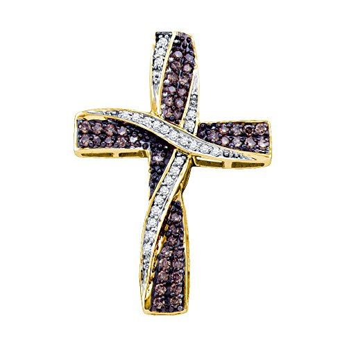 Brandy Diamond Chocolate Brown 14k Yellow Gold Cross Ribbon Necklace Pendant 1/2 Ctw.