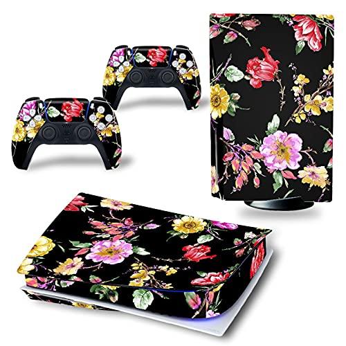 LUONE Stickers en Vinyle à Motif de Fleurs pour PS5, Peau Vinyle Autocollant Couvre-décalque pour 2 contrôleurs et Console Playstation 5,3064