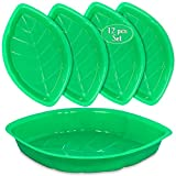 Palm Leaf Serving Trays | 12 Pcs Green Plastic Hawaiian Snack Trays | Luau Party Decorations Serveware | Tropical Party Serving Platter | BBQ, Summer, Beach, Island, Jungle Serving Tray | By Anapoliz