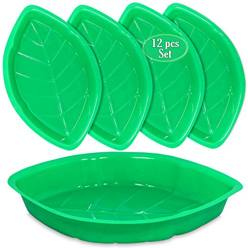 Palm Leaf Serving Trays   12 Pcs Green Plastic Hawaiian Snack Trays   Luau Party Decorations Serveware   Tropical Party Serving Platter   BBQ, Summer, Beach, Island, Jungle Serving Tray   By Anapoliz