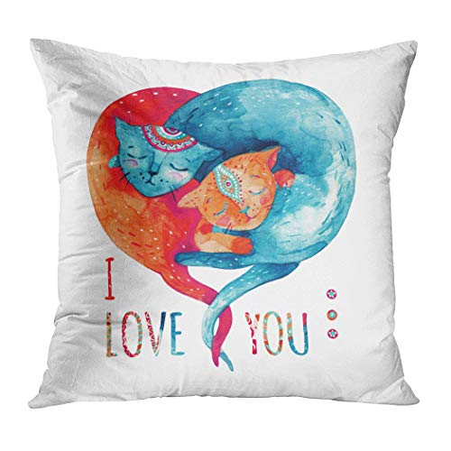 Qryipd Throw Pillow Cover Watercolor Pair Lovely Cats Isolated Comfortable Print Living Room Car Sofa Bedroom Polyester Hidden Zipper Pillowcase 16x16 Inch
