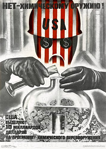 UpCrafts Studio Design Cold War Memorabilia - Soviet Anti American Chemical Weapon Propaganda Poster (11.7x16.5 inches (A3 Size), Unframed Prints)