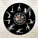 LBJZD Reloj de Pared Poses De Yoga Mantenga El Equilibrio Reloj De Pared con Registro De Vinilo...
