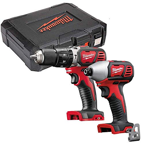Milwaukee M18BPD 18v Combi Drill and M18BID Impact Driver Twin Pack with Case