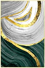 Oil painting 100x70 cm | Golden Melt | a Framed Handmade Abstract Oil Painting, a Unique Design on a Coton Canvas and Gold...