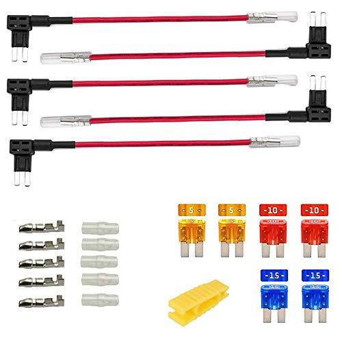 Gebildet 5pcs 12V-24V 20A Micro 2 Add-a-Circuito Portafusibles, ACZ Mini Portafusibles con Alambre, Cable Fusible, con 6pcs Fusible de Miniatura (5A /10A /15A) y 1pc Extractor de Fusibles