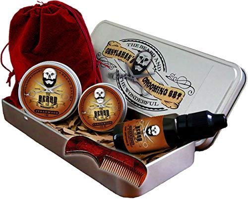 Premium Barbe Toilettage Kit pour Hommes - Ensemble 6 Pièces, Traditionnel Huile , Moustache Cire, Baume Mini, Peigne, Cordon Sac Transport Présenté en An Aluminium Cadeau Étain. Parfait
