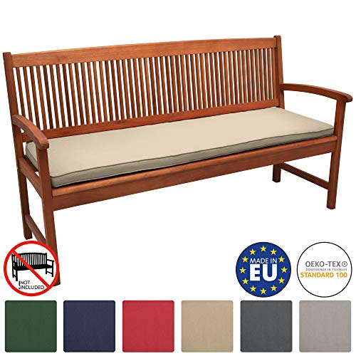 Beautissu Outdoor Bench Cushion Base BK Comfortable Cushion 120 x 48 x 5 cm 3 Seater Garden Bench Pad Nature
