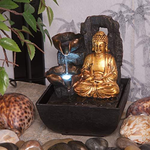 Creative Touch Mini Majestic Golden Buddha Fuente de agua para interiores con luz LED | Tamaño: 13,3 x 13,3 x 18 cm | Enchufe de Reino Unido de 3 pines incluido |