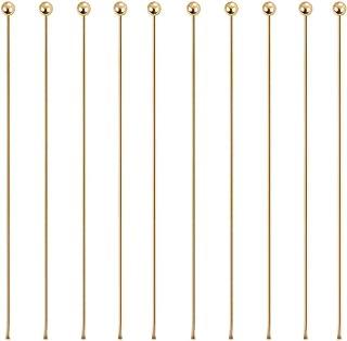 BENECREAT 100PCS Perno Placcato 18K Oro Reale Pin Testa Tonda per Monili Design Creazione di Gioielli Bracciali Collane Ca...