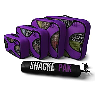 Shacke Pak - 4 Set Packing Cubes - Travel Organizers with Laundry Bag (Orchid Purple)