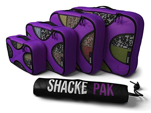 Shacke Packung - Packwürfel 4er Set – Reiseorganisierer Mit Wäschebeutel (Lila Einer Orchidee)