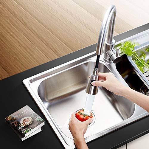 XFYZYY 360° Drehbar Wasserhahn Küche aus Edelstahl, Einhand- Spültischbatterie mit Herausziehbare Dualbrause, Spültischamatur