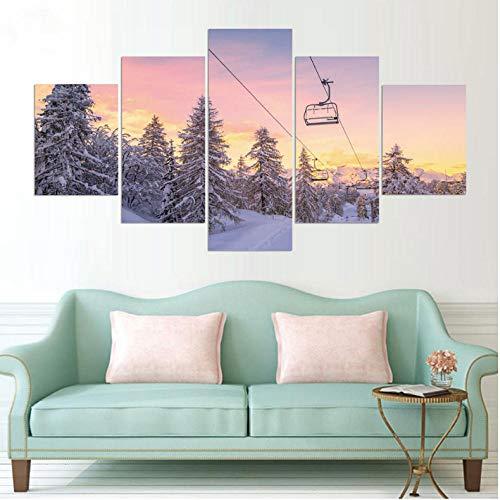 Lllyzz Canvas Schilderijen Home Decor Print Schilderij Modulaire Kunst 5 Stuks/Stks Sneeuw Berg en Kabel Auto Snowboarden Hd Canvas Muurfoto Poster Prints Op Canvas 150X80CM