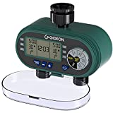 Gideon Dual-Valve Hose Irrigation Water Timer Sprinkler System – Battery Powered; Easy Hose Connection with Simple to Use Digital System [Upgraded Version]