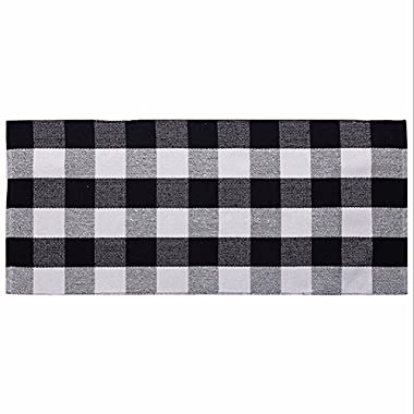 Ukeler Cotton Rug Hand-woven Buffalo Checkered Kitchen Rugs Washable Braided Kitchen Mat Black and White Plaid Area Rugs for Living Room/Bedroom/Laundry, 23.6''x70.8''
