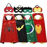 Zaleny Superhero Kids Dress up Costumes Satin Capes and Felt Masks set of 4 Super Hero Themed Party Supplies