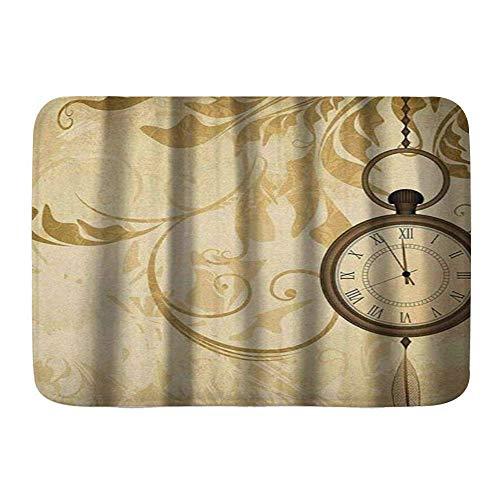 Alfombra de baño Alfombra, Reloj Rústico Vintage Grungy Relojes de Bolsillo con...