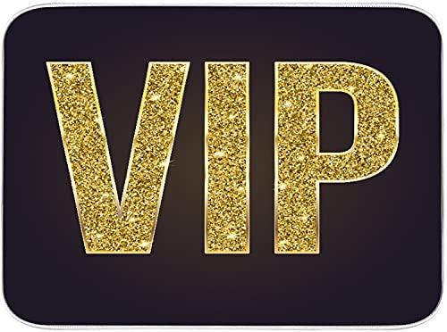 CONICIXI Alfombrilla de Secado de Platos Dillustration Símbolo dorado de exclusividad La etiqueta VIP Persona muy importante en 3D Negro absorbente alfombrilla de escurreplatos Cocina 45.7x60.9cm