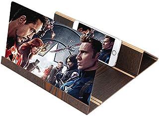 GGHing Pantallas móviles para Todos los Tipos de teléfonos Inteligentes, amplificadores 3D de Alta definición, Lentes Plegables de 12 Pulgadas, Soportes móviles de Madera.
