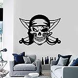 HGFDHG Adesivo da Parete Pirata Foil Sword Skull Skull Ocean Robber Vinyl Window Sticker Cool Style Bedroom Man Cave Home Decoration Art Mural